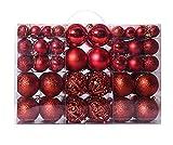 Awinker 100 Pezzi Palline di Natale Multi-Color Dimensione Diverse Palle e Palline per L'Albero Decorazioni Natalizie (Rosso)
