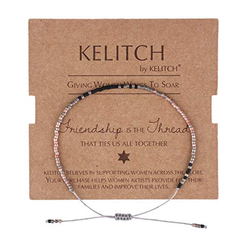 KELITCH Simple Friendship Bracelet Handmade Adjustable Seed Beaded String Strand Bracelet Fashion Charm Jewelry Girl Women(Rose Red Black)