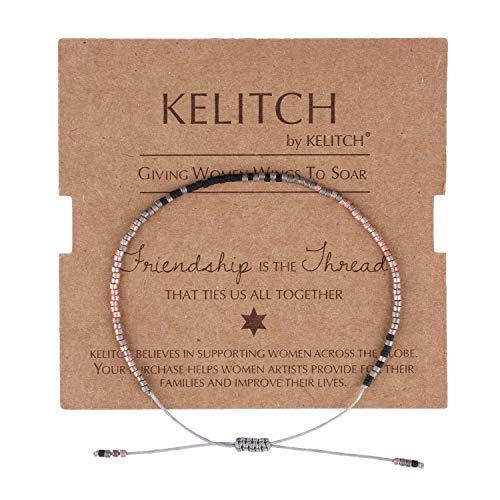 KELITCH Armbänder Damen Frauen Dünn Seil Rocailles Perlen Charme Strangarmband Freundschaft Armband Armbänder Herren Männer Freundschaftsarmbänder (J)