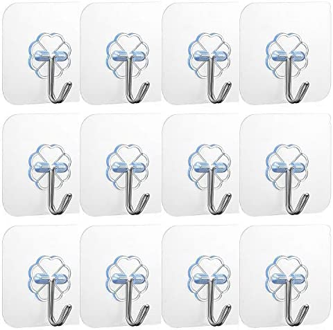 Adhesive Wall Hooks 22 lb MAX Heavy Duty Wall Hangers Without Nails 180 Degree Rotating Seamless product image