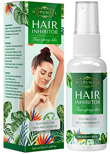 Nopunzel Hair Inhibitor- 50 ML - Hair Stop Growth Spray - Natural Ingredient to Inhibit and Reduce to Stop Hair Growth - Safe for Face, Arm, Leg, Armpit Use - Smooth Your Skin