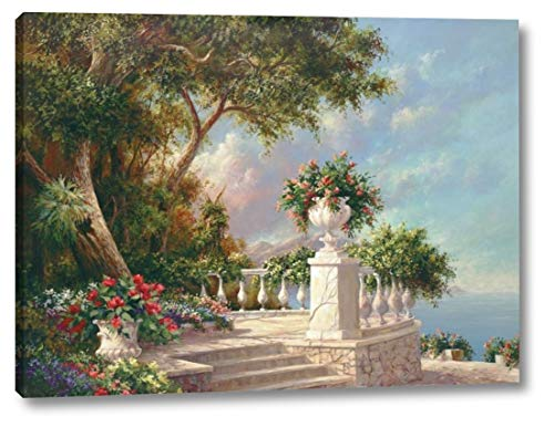 "Balcony at Lake Como by Art Fronckowiak - 23"" x 30"" Canvas Art Print Gallery Wrapped - Ready to Hang"