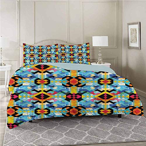 Aishare Store 3-Piece Duvet Cover Set, Chevron,Abstract Cubist Pixel Art, Queen Size Soft Brushed Microfiber Fabric - Shrinkage and Fade Resistant - Easy Care