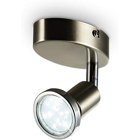 B.K.Licht plafonnier LED 1 spot orientable finition nickel matte, applique murale LED, ampoule LED 3W GU10 incl, 250 Lm, lumière blanche chaude 3000K