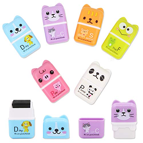 6 Pcs Cute Pencil Eraser, Cartoon Animal Themed Roller Colorful Rectangle Eraser, Pencil Rubber Erasers for Kids School Office Supply Stationery