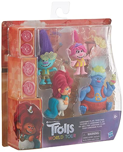 Trolls DreamWorks Lonesome Flats Tour Pack, 5 Small Doll Set Inspired by The Movie World Tour, Toy for Kids 4 Years and Up