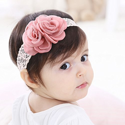 Kercisbeauty Halloween hecho a mano de bebé niñas rosa tocado de gasa flor diadema elástico encaje cabeza pieza corona para fotografía infantil