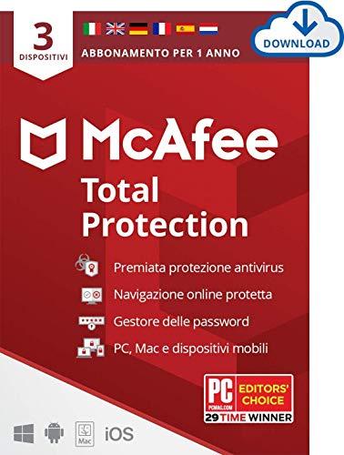 McAfee Total Protection 2021, 3 Dispositivi, 1 Anno, Software Antivirus, Sicurezza Internet, Gestore delle Password, Sicurezza Mobile, Multi-Dispositivo PC/Mac/Android/Ios, Edizione Europea