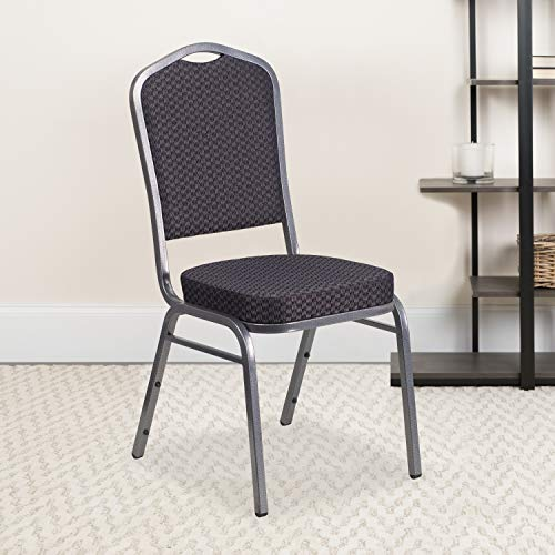 Flash Furniture 4 Pack HERCULES Series Crown Back Stacking Banquet Chair in Black Patterned Fabric - Silver Vein Frame