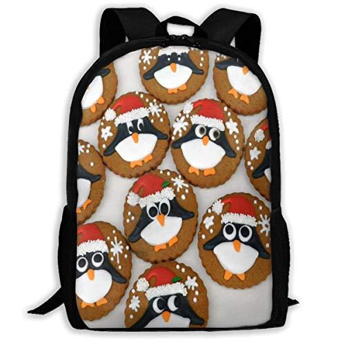 NA Rucksack für Mädchen, Jungen, Weihnachten, Pinguin, Kekse, Reißverschluss, Schule, Büchertasche, Tagesrucksack, Reiserucksack, Turnbeutel für Mann und Frauen