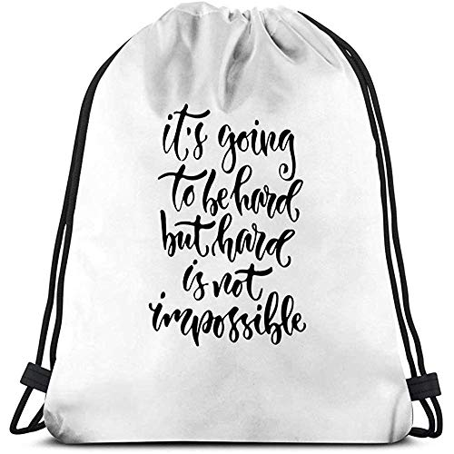 Travel Duffel Bags,Drawstring Backpack Bag Lightweight Gym Travel Yoga Casual Snackpack Shoulder Bag For Hiking Swimming Modern Lettering Inspirational Hand Lettered Quote Wall Poster Printable C