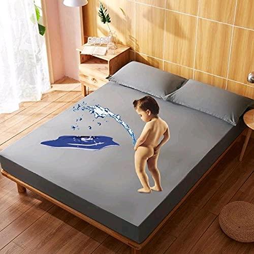 XGguo Protector de colchón Transpirable.Rizo Bambú. Sábana de Cama de Color sólido Impermeable de algodón-Gris_0.9x2.0m