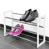 bremermann Étagère à chaussures , tablettes pour chaussures extensibles, matériau : métal chromé, bois, blanc