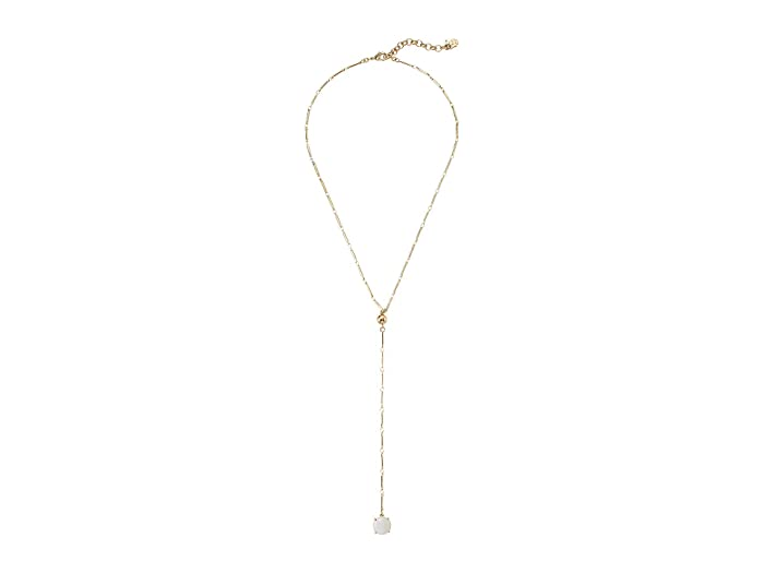 Lucky Brand  White Agate Y-Necklace (Gold) Necklace