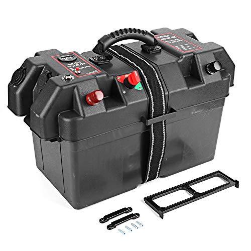 Duokon Motor Power, Minnkota Trolling Battery Box Plástico Minnkota Trolling Motor Power Center Station Battery Box USB y cargador de 12V Puerto