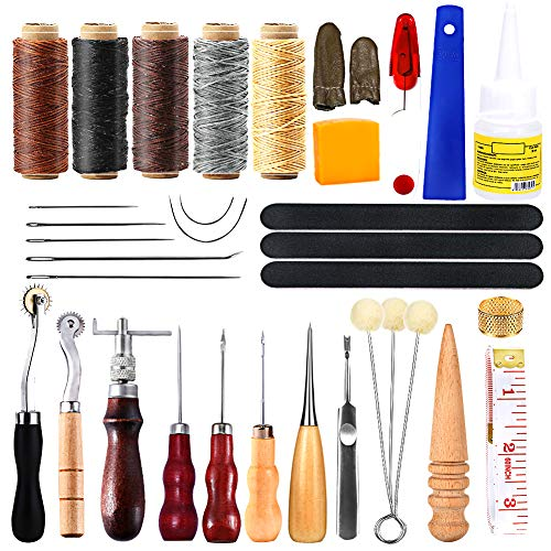 35 Pcs Leather Tool Kit, Leather Working Tools and Supplies, Leather Sewing Kit with Leather Thread, Leather Sewing Needles, Liquid Latex, Groover, Thimble, Awl, Instructions and Leather Accessories