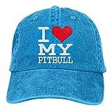 Bokueay I Love My Pitbull Gorra de Mezclilla Deportiva Ajustable Snapback Unisex Llanura Sombrero de Vaquero de béisbol Estilo clásico