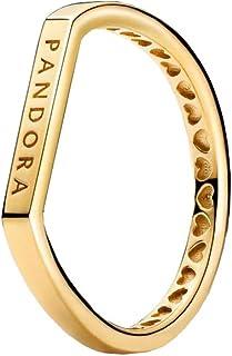 PANDORA - Anillo de apilamiento con Logotipo, Plata de Ley en Oro, Talla 60