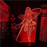 Attack on Titan Levi Ackerman 3D LED luz nocturna, lámpara de ilusión de 16...