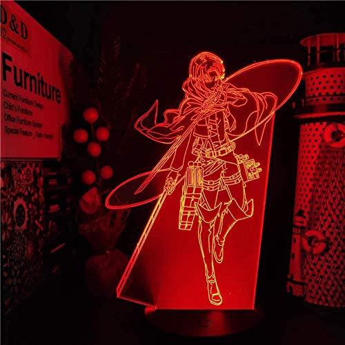 Ilusión lámpara 3d noche luz led anime titanes ataque levi ackerman mesa lámpara de mesa niños regalo de cumpleaños dormitorio dormitorio decoración de noche iluminación festival