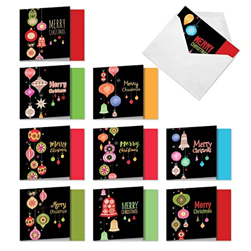 The Best Card Company - 10 Boxed Holiday Cards for Christmas - Fun Assorted Notecard Set, Bulk Variety Pack (4 x 5.12 Inch) - Retro Groovy Greetings MQ4177XSG-B1x10