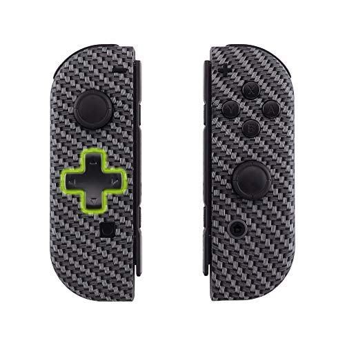 eXtremeRate Black Silver Carbon Fiber Joycon Handheld Controller Housing (D-Pad Version) with Full Set Buttons, DIY Replacement Shell Case for Nintendo Switch Joy-Con – Console Shell NOT Included