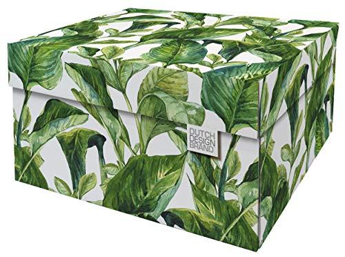 Dutch Design - Scatola decorativa con coperchio - Dimensioni: 38,9 x 31,8 x 21,1 cm - Scatola portaoggetti con coperchio - cartone riciclabile certificato FSC (stampa: Green Leaves)
