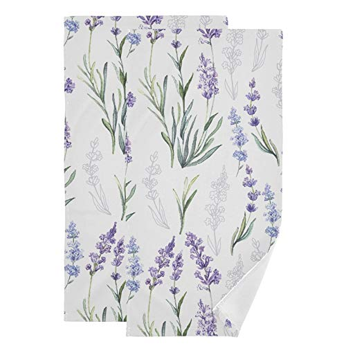 Beautiful Lavender Hand Towels Watercolor Flowers Towel Set of 2 Small Bath Towels Soft Guest Face Towel Bathroom Decorations Thin Kitchen Tea Dish Towels 14x28 in