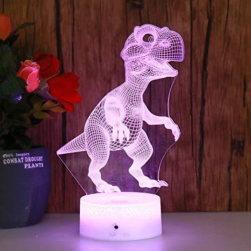 Santangtang nachtlampje 3D-seven kleuren op afstand nachtlichtdinosaurekleur spring onderkant koele illusie scherpt babyslaapkamerlicht feestdecoratie nachtlampje