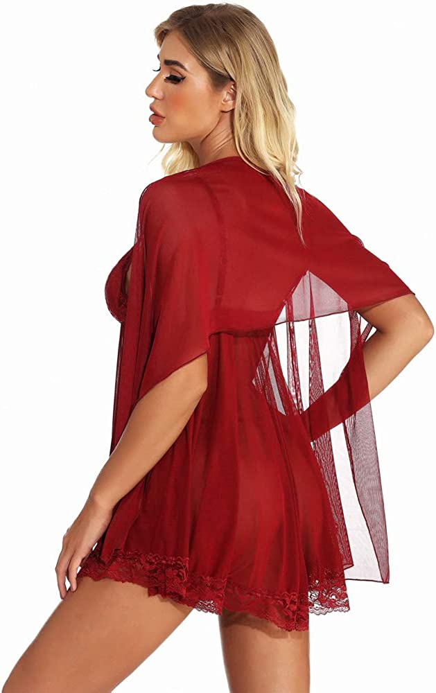 titivate Women's Lace Teddy Babydoll Shawl Lingerie Mesh Nightgown Chemise Sexy Pajamas