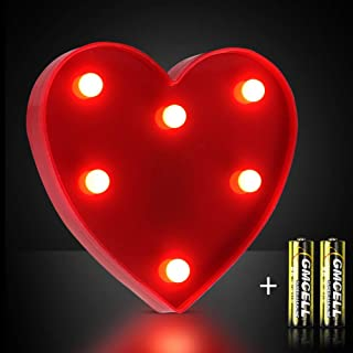 DEKIRU Light Up LED Marquee Sign Heart Lights, LED Letter Light Heart Shape Signs Lamp for Party Birthday Wedding Christmas Night Light Home Bar Bedroom and Wall Decor Included Batteries (Red Heart)