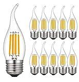 RANBOO Lampadine LED Fiamma E27 4W Equivalenti 40W, Luce Bianca Calda 2700K, 400 Lumen, Lampadina LED Candela E27 per Lampadario, Non Dimmerabile, Vetro, Pacco da 10