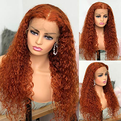 Burnt Orange 13x1 T Part Lace Front Wig Human Hair Glueless Wet and Wavy Peruvian Remy Hair with Baby Hair Pre-plucked Hairline for Black Women by Beata hair