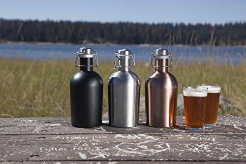 Stainless Steel 64-Ounce Beer Growler by LEGACY - a Picnic Time Brand, Black Matte Finish
