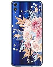 Oihxse Case Transparente Suave TPU Compatible con Huawei P8 Lite 2017 Funda [Lindo Caricatura Flor Serie Dibujos] Cristal Protector Carcasa Anti Rasguños Bumper Cover-Flor