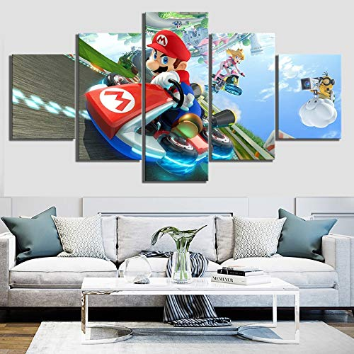 Art Poster Immagini modulari Tela 5 Pezzi Mario Kart Cartoon Dipinti Stampe moderne Decorazione Soggiorno Muro(NO Frame size)
