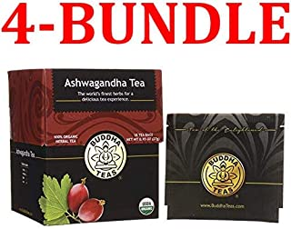 Organic Ashwagandha Root Tea - Kosher, Caffeine-Free, GMO-Free - 18 Bleach-Free Tea Bags (18 Tea Bags (4-Bundle))