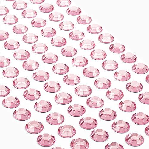 Movoja Rosane Strasssteine - runde Glitzersteine 147 Stück 10 mm selbstklebend zum Verzieren und Basteln | Schmucksteine zum aufkleben | Steinchen Dekosteine Bastelsteine Rosa