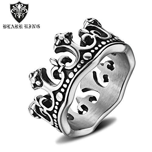 HJG Ring mit Krone, Edelstahl, matt, Vintage-Stil, Königin Krone, für Herren, Punk, Gothic, Schmuck, 11#