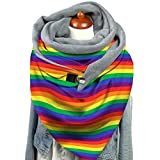 Kdjsic Mujeres Invierno Espesar cálido Bufanda Grande Mariposa arcoíris Rayas Estampado Cuello Calentador redecilla con Clip Manta térmica Chal