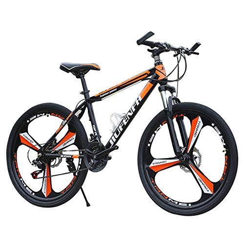 Bicicleta De Montaña, Carreras De Velocidad Variable Todoterreno para 24 Pulgadas 21 Velocidades, Suspensión De Horquilla Delantera con Función De Bloqueo, Frenos De Doble Disco, Hombres Y Mujeres