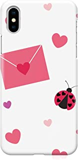 Loud Universe Case for iPhone XS Wrap around Edges Valentines Day Couples Lady Love Letter Bug Heart Pattern Sleek Design ...