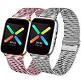 Mugust Juego de 2 correas compatibles para Apple Watch, 42 mm, 44 mm, 38 mm, 40 mm, metal de acero inoxidable, compatible con iWatch Series SE/6/5/4/3/2/1 (rosa/plata, 38 mm/40 mm)