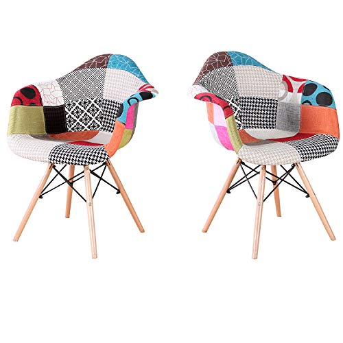 Sim Luxury Stoff Esszimmerstühle mit Armlehne Patchwork Stühle Silla Nórdica Seitenstühle Ideal para Wohnzimmer, Esszimmer, Schlafzimmer, Büro, Café, Tagungsraum