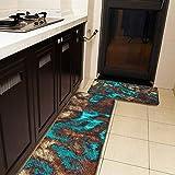 Juego de 2 alfombras de cocina y alfombrillas abstractas, color turquesa envejecida, color crema, marrón, antideslizante, suave, absorbente, para cocina, suelo, baño, fregadero, lavandería, oficina