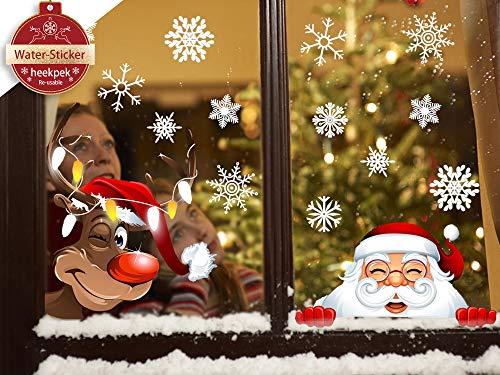 heekpek 4 Pack Natale Vetrofanie Rimovibile Adesivi Murali Fai da Te Finestra Decorazione Vetrina Adesivi Adesivo Murales Carta da Parete Adesivo per Finestra di Natale Babbo Natale Alce