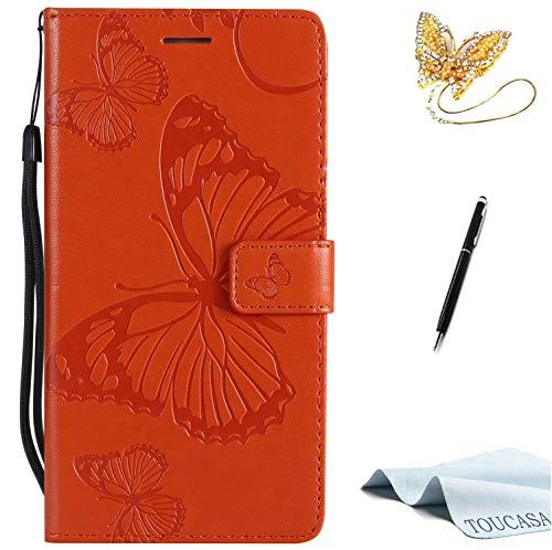 TOUCASA S6 Handyhülle,S6 Hülle, Brieftasche flip PU Leder ledercaseHülle Kartenfächer [3D Butterfly] [3D Schmetterling] Embossed Technology fürSamsung S6-(Orange)+StylusPen