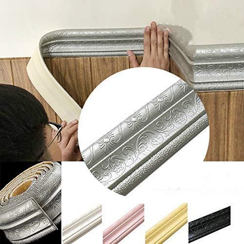Turbobm 2.3m / Roll 3D Impermeable Azulejo rústico Sala de Estar Baño Zócalo Autoadhesivo VintageBorders 3D Pegatinas de Pared, Pegatinas de línea de Esquina