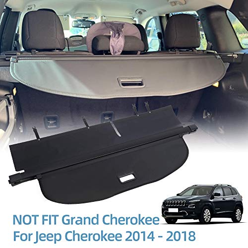 VESUL Retractable Cargo Cover Fit for Jeep Cherokee 2014-2018 Security Shade Shield Anti-Peeping Luggage Privacy Screen with Extra Canvas Cover Black