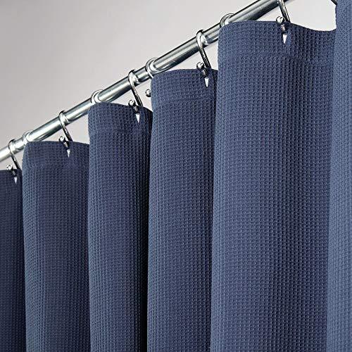 mDesign Duschvorhang aus 100prozent Baumwolle – schöne, strukturierte Duschgardine – leicht zu pflegener Badewannenvorhang – marineblau